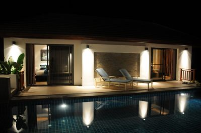 Outside bedrooms by the pool