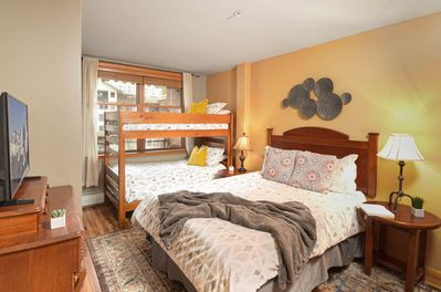 Second bedroom with Queen and twin bunks with new mattresses