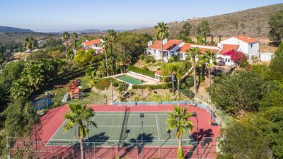 Tennis Ranch Aerial View Private Pool Tennis Court Playground