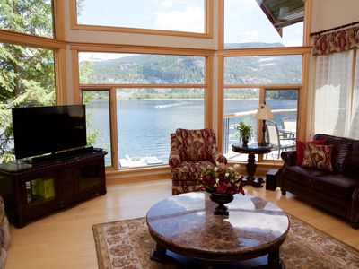 Living room with panoramic views of lake and mountains
