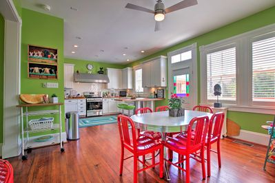 The colorful kitchen will bring a smile to your face!