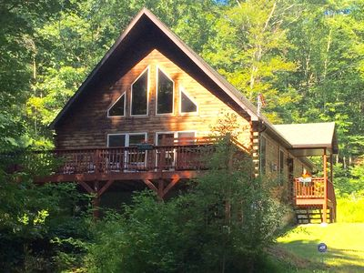 Photo for Beautiful Chalet on 7 Acres with Private Pond, Fireplace, Hot Tub and Free Wifi