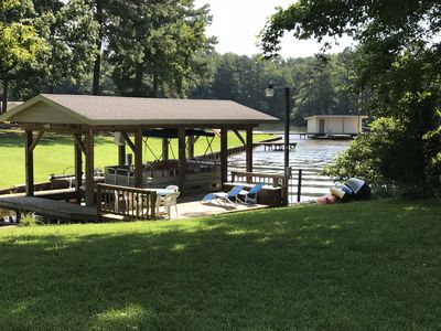 Nice dock for your jetski, boat or to launch the canoe or kayaks that we provide