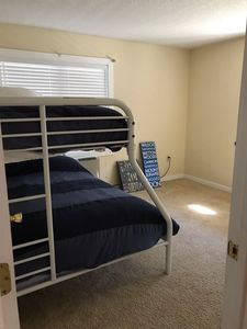 Lower level bedroom, twin over full.  The picture doesn't show the new twin bed