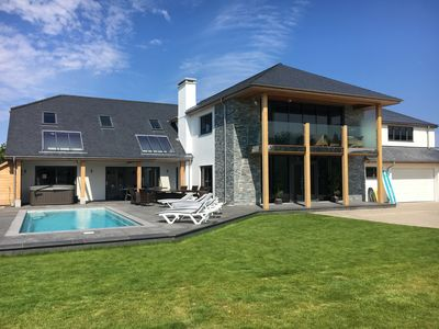Photo for Luxury Holiday Home, Sea Views, Heated Pool, Hot Tub; Close to beaches & Golf