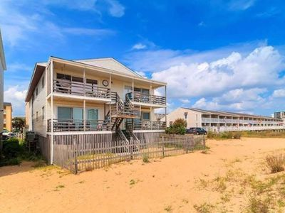 Photo for Ocean front view and steps to the beach!!!