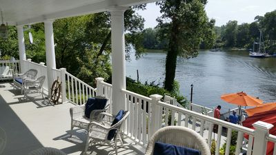 Photo for Big house, huge porch overlooking the river; sailboat, kayaks.