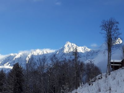 Photo for Bottom of chalet in the mountains at the foot of Les Houches ski slopes
