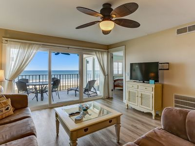 Photo for Renovated, 4th Floor, 2 Bed/2 Bath Oceanfront condo sleeps 6.  Oceanfront balcony & and pool.