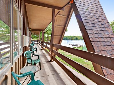Photo for Lake view room at historic lakefront motel w/ shared beach & dock - dogs OK!