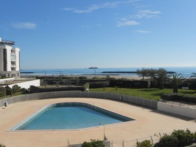 Photo for apartment with pool facing the sea beach rochelongue