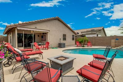Relax by the Heated Pool & Enjoy the gas Firepit at night