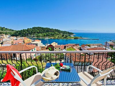 Photo for Avgi Apartment Ena: Renovated Paxos apartment inside Gaios, panoramic sea views
