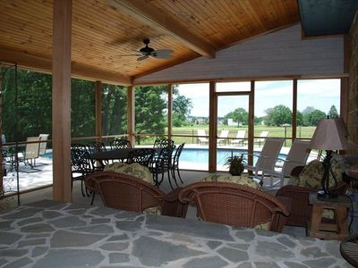Huge 18 foot screened porch overlooks pool - dine inside or out. Comfy seating.