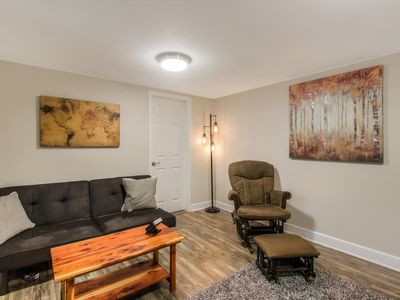 Photo for NEW LISTING! Basement apartment w/yard & kayak-Walk to Lake, near golfing