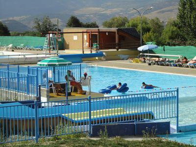 The large heated open air swimming pool at Err
