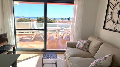 Photo for Modern Penthouse1 Lift, Jacuzzi, 2 Rooms, Sea view. 3 min walking to the beach