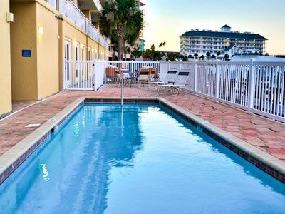 Pool and deck are on the waterfront