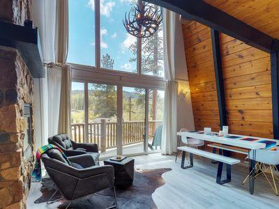 Photo for Modern cabin, private hot tub & mountain views near golfing, skiing