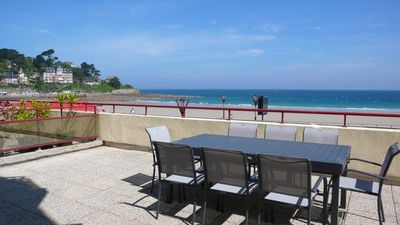 Photo for SUPERB SEA VIEW APARTMENT WITH TERRACE TRESTRAOU BEACH IN PERROS-GUIREC