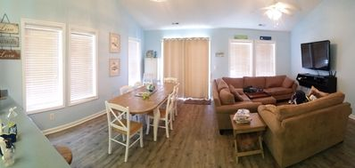 Dining room and living room.