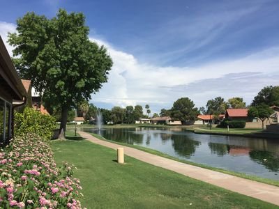 Lovely view from backyard & most rooms in the house! Walking path around lake