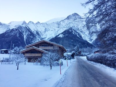 Photo for Luxury 4 bedroom chalet views of Mont Blanc in central Les Houches