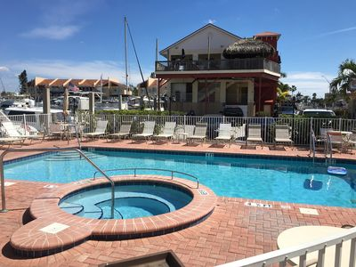 Heated pool in winter, with hot tub!