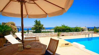 Photo for Villa Galanis - Superb Villa with Private Pool, Panoramic Sea Views in the Fantastic Village of Plaka ! - Free WiFi