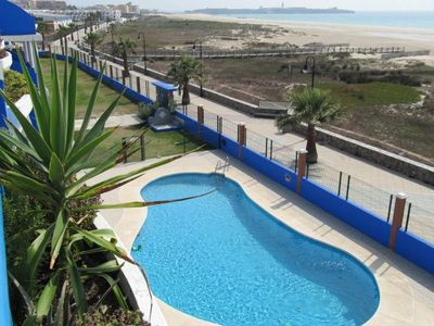 Photo for Apartment in Los Lances 'La Tortuga II' on the beachfront with pool