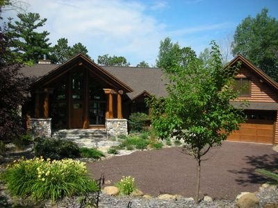 Photo for Large log cabin, lodge, family reunions, large accommodations, lake front,
