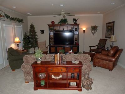 """Beautiful Living Room with Queen Sofa Bed, 60"""" Flat Screen TV and DVD/VCR Player"""