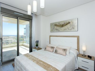 Photo for New apartment with panoramic views, heated pool and 100m to the shop, restaurants