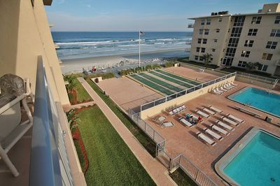 Balcony View of pool, shuffleboard courts, and ocean
