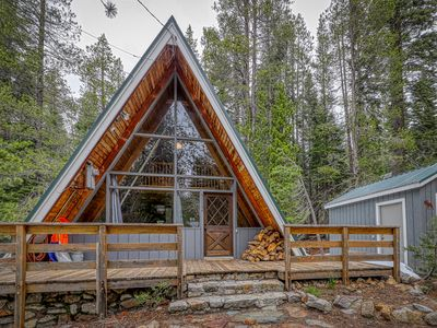 Photo for Lovely A-frame cabin w/ wood stove & smart TV - close to town & attractions