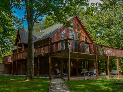 Photo for Astounding & secluded mountain chalet with lake views!