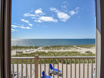 Photo for #203: Sweeping view of Cape Cod Bay! Updated 2-bedroom right on the beach!