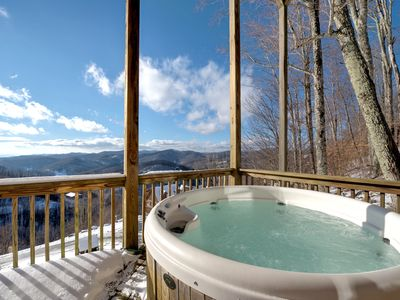 Photo for Mountaintop Cabin, 70+ Mile Views, Hot Tub, Game Room - Includes a Biltmore Pass!