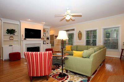 Family Room - sectional couch for extra seating and flat screen above fireplace.