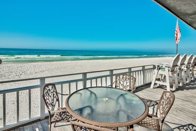 Cozy Beachfront over-sized Deck just above the Sand!