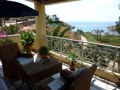 Photo for Stunning Greek villa, gorgeous ocean views, terraces, wifi, AC, pizza oven