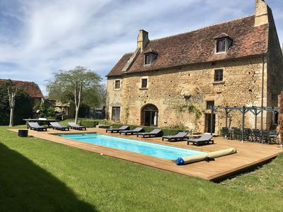 Photo for Beautiful 15th century house, in old stones, swimming pool, garden, 12 people