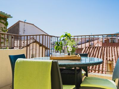 Photo for Regina's Banyuls  - Terrace apartment with a view, 100 m from beach