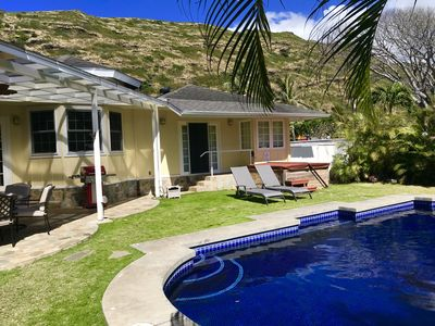 Photo for Beautifully decorated modern Hawaiian home with salt water pool.