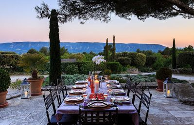 The table is set for dinner on the terrace; photo courtesy Simpson Travel