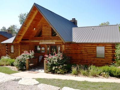 Photo for Luxury 2700 Sq Ft Log Cabin w/ Private Hot Tub Game room Pool Table + Best View