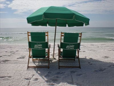 Umbrella and two chairs are provided with condo rental (in season)!