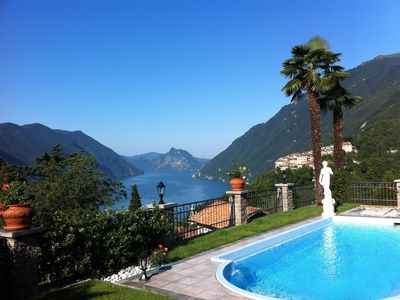 Photo for Villa with communal pool and fantastic panoramic views of Lake Lugano