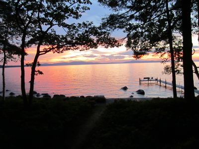 Photo for Frye Island Waterfront House - Large Private Beach With Beautiful Sunset Views.