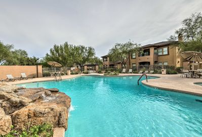 The high-end condo community boasts pools and spas.